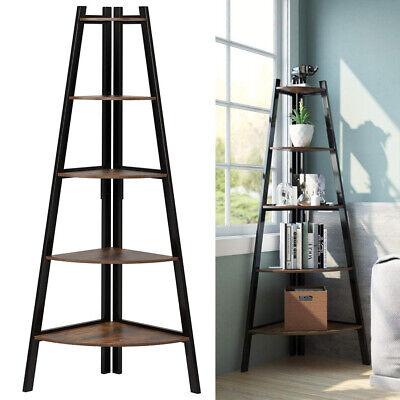 5 Tier Ladder Storage Shelving Unit Bookcase Corner Rack Display Plant Stand