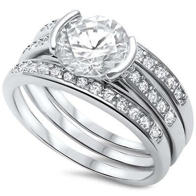 Wedding Engagement Bridal Trio Set Half Bezel Ring Band Round CZ Sterling Silver
