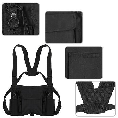 Radio Chest Harness Chest Bag Rig 3 Pocket Pack Holster Vest for Two Way Radio