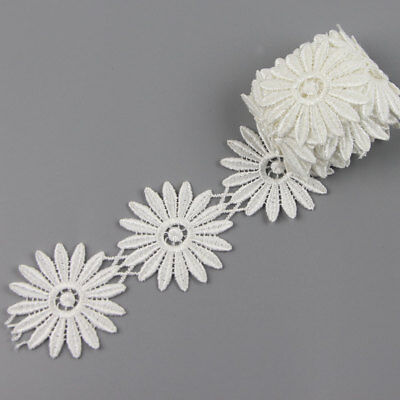 2 Yards Daisy Flower Polyester Applique Lace Trim Wedding Dress Sewing - Polyester Daisy