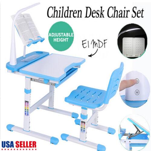Adjustable Blue Children's Study Desk Table Chair Set Child