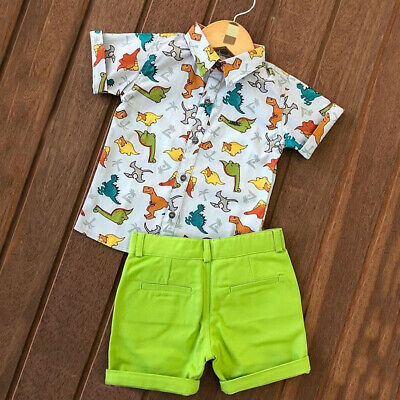 US Kids Clothes Set Baby Boy Short Sleeve T-shirt+Pant 2pcs Casual Outfit Summer
