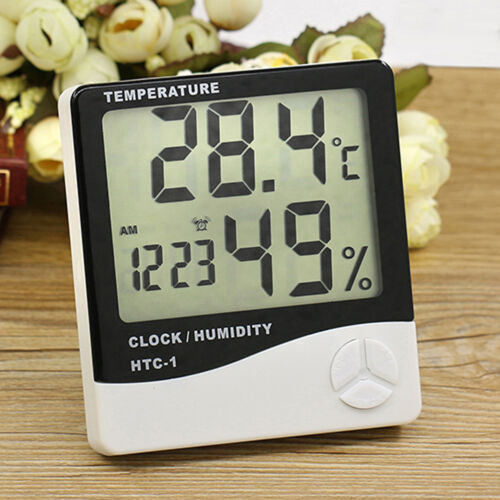 Digital  Alarm Clock LCD Thermometer Hygrometer Temperature Humidity Meter Gauge