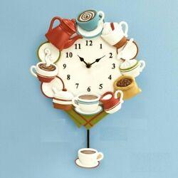 Coffee Cups Design w/ Pendulum Colorful Wall Clock Kitchen Home Decor 15H