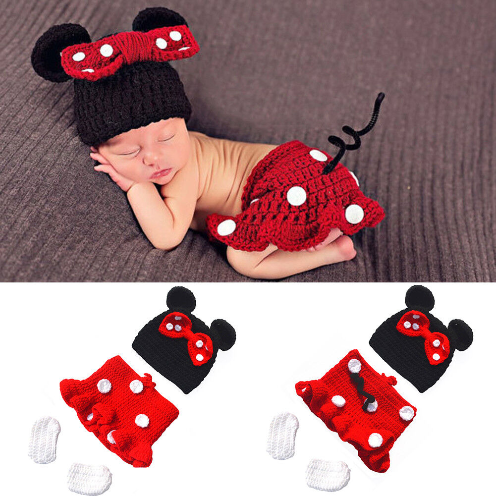 928656cc1767b Details about Newborn Baby Girls Minnie Mouse Costume Crochet Hat  Photography Props Outfits