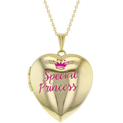 Heart Shaped Photo Locket Pink Special Princess Crown Girls Pendant Necklace 16""