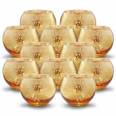 Round GOLD Votive Candle Holders Bulk Mercury Glass Tealight Holder Set Of 12 Fo