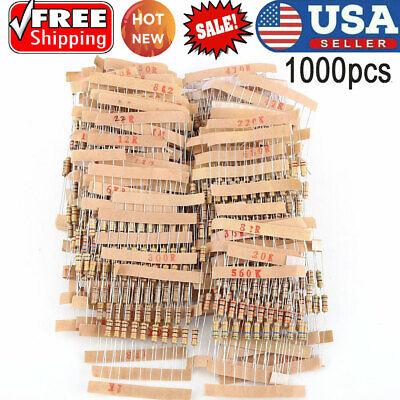 1000pcset 12w110m Ohm Values Assorted Carbon Film Resistors Assortment Kit Us