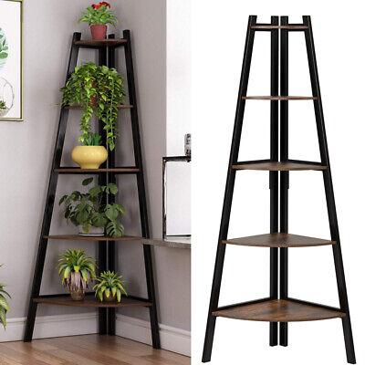 Vintage 5 Tier Wood Corner Freestanding Ladder Shelf Home Display Bookcase Unit
