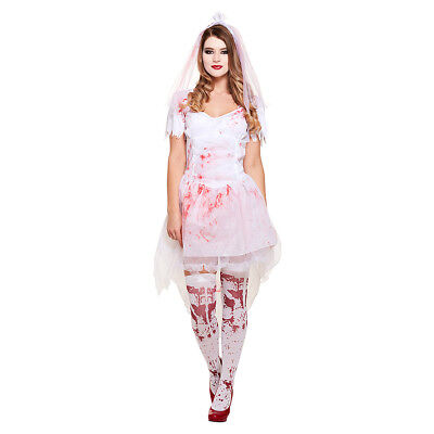 Blue Banana White Red Halloween Zombie Corpse Bloody Bride Fancy Dress Costume
