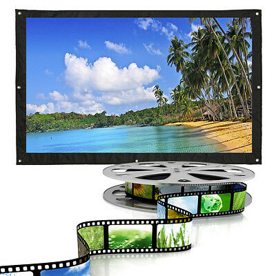 "60-200"" Inch 16:9 Portable Beamer HD Projector Projection Screen Curtains Film"