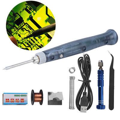 Soldering Iron Kit Mini Portable Usb Welding Repair Equipment Set Adjustable 8w