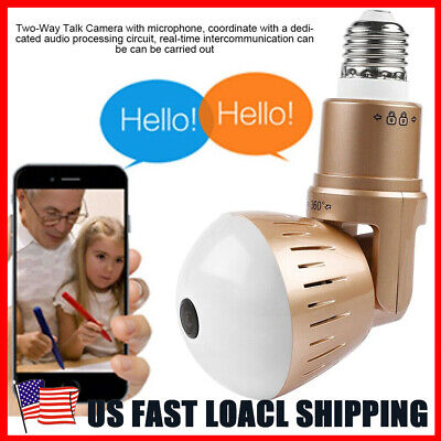 - 360° Panoramic HD 1080P WiFi Camera IP Light Bulb Home Security Video Cam CCTV