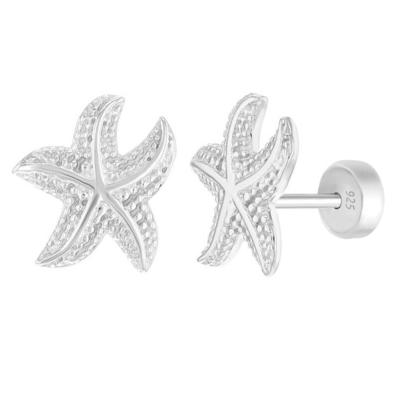 925 Sterling Silver Safety Push Back Starfish Sea Nautical Earrings For Girls