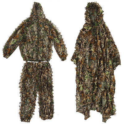 Tactical Camouflage Leaf Clothing Hunting Sniper Ghillie Suit Cloak Hat Outdoor