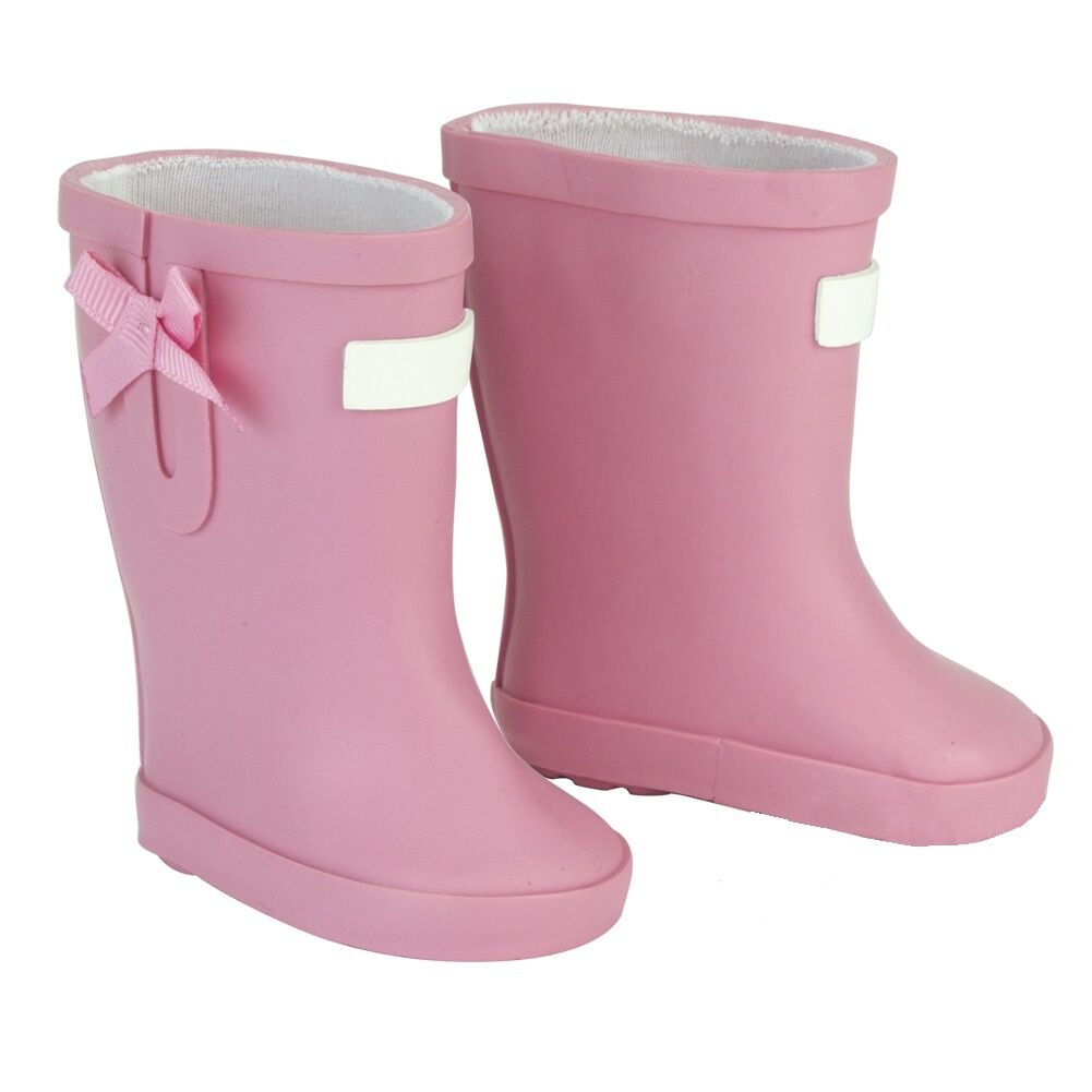"Lovvbugg Light Pink Wellies Rain Boots Shoes for 18"" American Girl or Baby Doll Clothes"