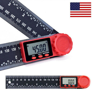 2 In 1 Electronic Digital Angle Finder 8 Measure Tool Protractor Ruler Gauge Us