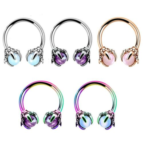 16G Septum Opal Cartilage Earring Horseshoe Piercings Daith Helix Hoop Lip Ring