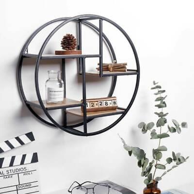 Vintage Wall Unit Retro Iron Industrial Style Metal Round Shelf Rack Storage