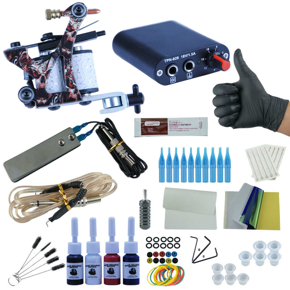 Complete Tattoo Starter Kit 1 Machine 4 Color Inks Gun Set Power Needle Tip Kit