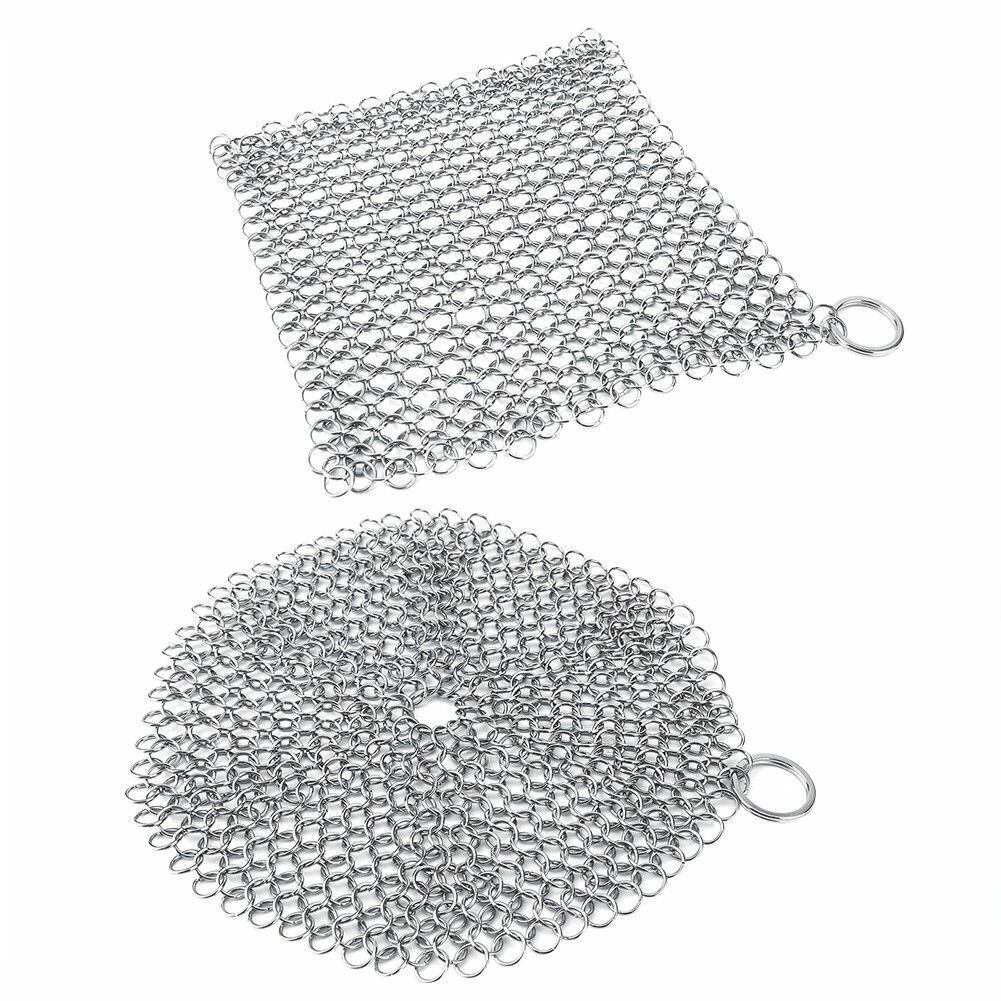 Stainless Steel Cast Iron Cleaner Chain Mail Scrubber Tool C
