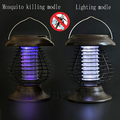 (Solar Powered LED Lamp Bug Zapper Mosquito Killer Insect Repeller Light Garden)