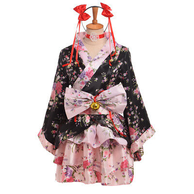 Japanese Lolita Sakura Kimono Maid Uniform Outfit Cosplay Costume Party Dress (Adult Maid Outfit)