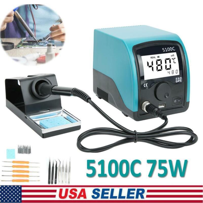 5100C 75W Solder Soldering Iron Station Kit Digital Repair Tool LCD Display