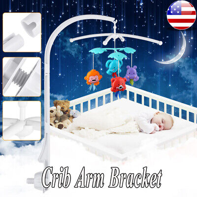 Rotary Musical Baby Kids Crib Mobile Bed Holder Cot Bell Toy Arm Bracket
