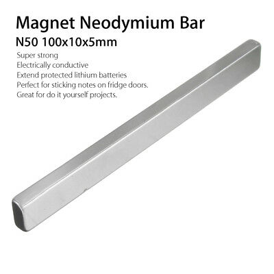 2pcs 100x10x5mm N50 Rectangle Strong Block Neodymium Rare Earth Magnet Bar Bland