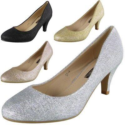 Women Court Shoes Ladies Bridesmaid Heel Wedding Party Glitter Bridal Big Sizes