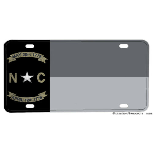 Subdued Gray Silver North Carolina State Flag Design Aluminum License Plate