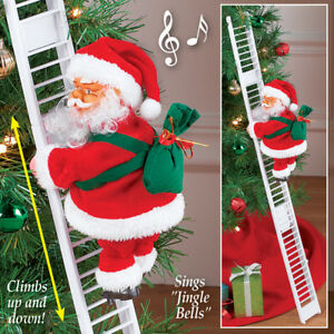 musical animated santa claus climbing ladder christmas tree decoration - Christmas Animated Images