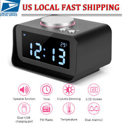 Alarm Clock Radio w/ 2 USB Charger Ports Battery Backup Dual Alarms and Speaker