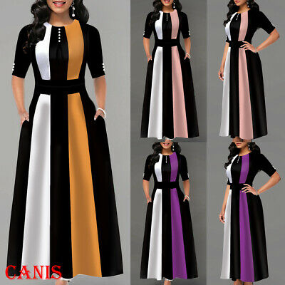 Pink Ladies Clothes (Women's Winter Boho Striped Long Sleeve Long Maxi Dress Party Beach Sundress)