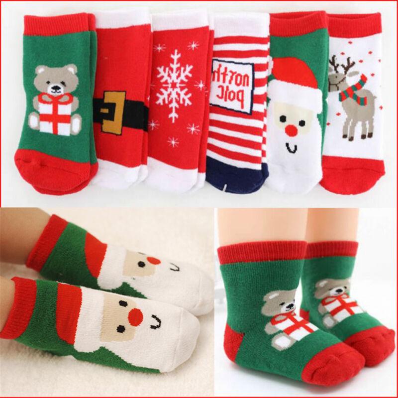 Soft Kids Toddler Boys Girls Cotton Christmas Socks for 1-6 Years ...