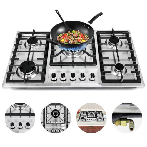 "33.8"" Cooktops Stainless Steel Built-in 5 Burners Stoves Nat"