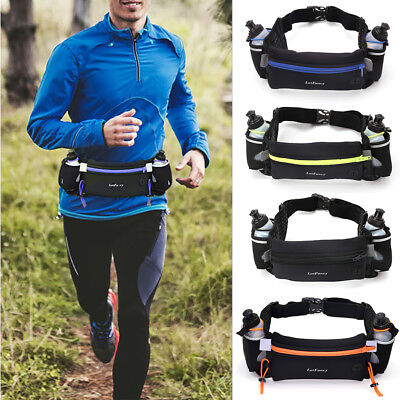 Hydration Running Belt w/ Water Bottles Waist Pack For Women Men Hiking Cycling