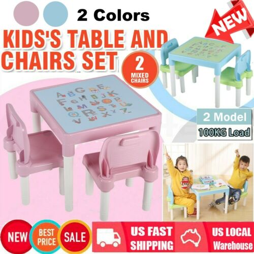 Table and Chairs set W/Letter Print for Children Kids boys&