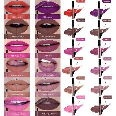 12Farbe Lange Andauernd Lipgloss Lipstick Starke Deckkraft Matt Wisch Wasserfest