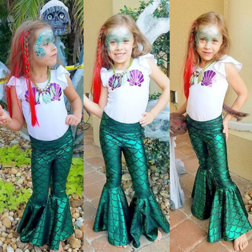 USSTOCK Mermaid Toddler Kids Baby Girl Outfit Clothes T-shir
