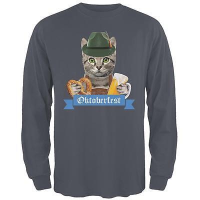 Oktoberfest Funny Cat Mens Long Sleeve T Shirt