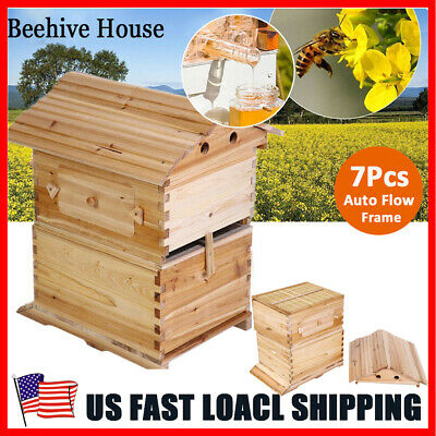Wooden Beekeeping Tool Bee Hive Beehive House For 7x Auto Honey Hive Frames
