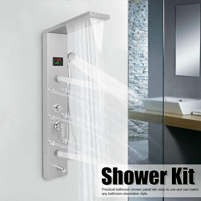 LED Shower Panel Tower Faucet Rainfall Waterfall Shower Faucet Massage Body Jets