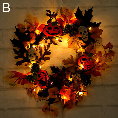 LED Maple Leaves Fall Garland String Light Decor Halloween Christmas Lamp US