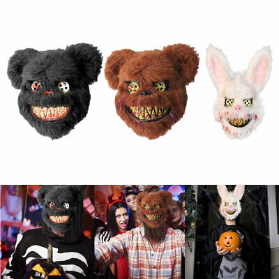 Halloween Costumes Scary Rabbit (Plush Bloody Bear Rabbit Scary Mask Halloween Masquerade Costume Props)