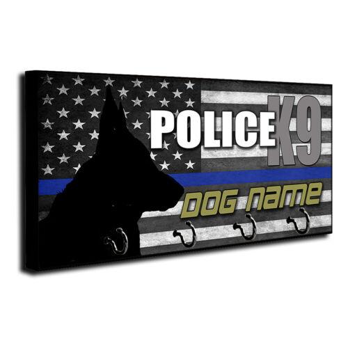 Personalize Police Canine K9 Dog Name Thin Blue Line Flag Leash & Key Hanger