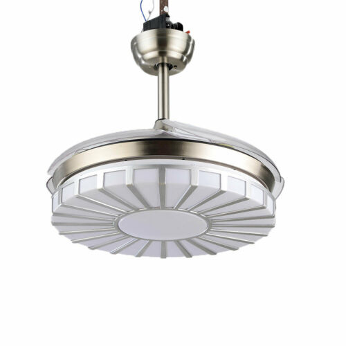Invisible Crystal Fan Light Lamp Ceiling Light 4 Blades 3 Speed +Remote Control 8