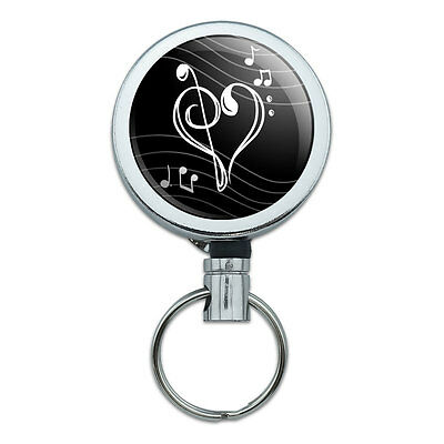 Retractable Reel Badge Key Holder with Belt Clip Music Music
