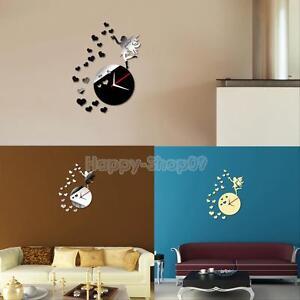 Luxury Diy 3d Wall Clock Home Decor Mirror Effect Fairy Heart Stickers Art Watch